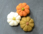 Needle Felted Pumpkins orange green white autumn fall thanksgiving halloween harvest decor eco friendly