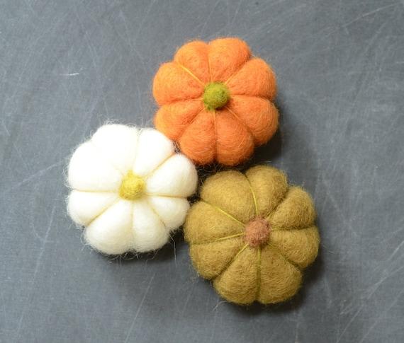 Needle Felted Pumpkins orange green white autumn fall thanksgiving halloween harvest decor eco friendly