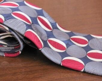 """Vintage """"Monsieur Pierre"""" Paris Op Art Silver Grey and Cherry Red Geometric Circles Men's Silk Necktie - Men's Fashion - Suit - Tie"""