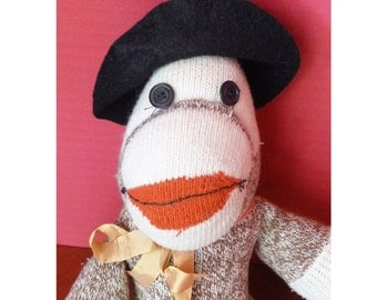 1950's Sock Monkey in Black felt hat