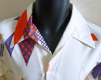 1970's Op Art Optic Men's Shirt MOD Disco Lilly Dache Boutique M