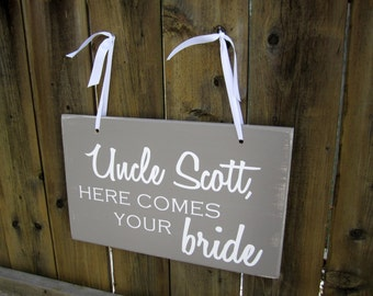 "10"" x 16"" Wooden Wedding Sign:  Double Sided Uncle, here comes your bride & Thank You"