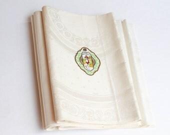 Vintage Damask Napkin Set - Floral Medallion Irish Linen Lapkins - Pride of Ulster -  Uncut Yardage Mint with Tag MWT