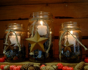 Barn Star Rustic set of 3 Mason Jars filled with Pinecones and candle for table decor, holiday decor, rustic decor, wedding decor, wedding