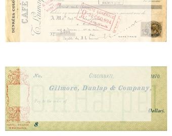 Digital Collage Sheet No 33 Vintage Ephemera Receits for Tags Cards Journaling Scrapbooks ATC Mixed Media