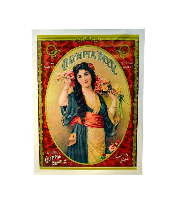 Vintage Olympia Beer Poster 1907 Olympia Brewing Co Advertisement Litho