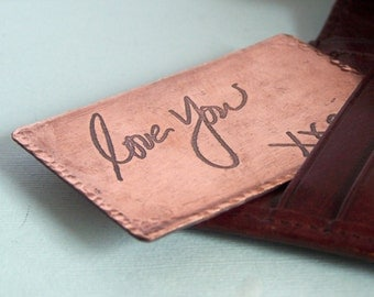 Etched Custom Handwriting Metal Wallet Card - Your handwriting or drawing - Engagement - Wedding - Memorial - Accessories