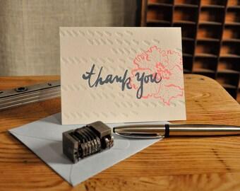 Flower Folded Letterpress Thank you Card- Single