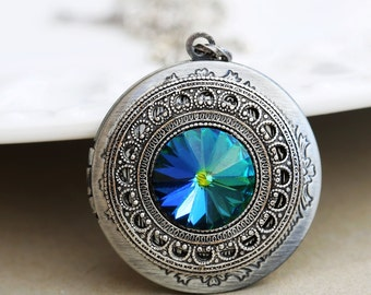 swarovski crystal blue green silver locket,jewelry gift,Something blue,Silver Locket,Locket,Silver Chain,Locket Necklace,Wedding Necklace