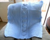 Handmade Crochet Baby Blanket Cables and Popcorn Hearts Baby Blue