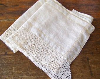 Vintage Linen Table Runner Hand Crochet Edge Table Cloth White Linen Shabby Cottage Decor 1960s