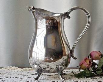 Vintage Water Pitcher Silverplate Pitcher Classic Pitcher Serving Retro Kitchen Gift For Mom 1960s