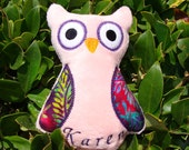 Minky Owl - PERSONALIZED - Soft Toy - Handmade Embroidered Stuffed Animal