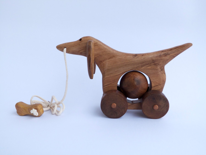 Wooden pull toy eco friendly DACHSHUND WINNY by toporko on Etsy