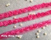 Hot Pink(2) Chiffon Lace Trim -3 Yards  Chiffon 3D Rose Lace Applique Trim (C14)