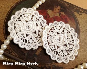 Cotton Applique Lace,Beige Applique,Applique Trim for Costume Desige,Jewelry,Headband 2 pcs (A14)
