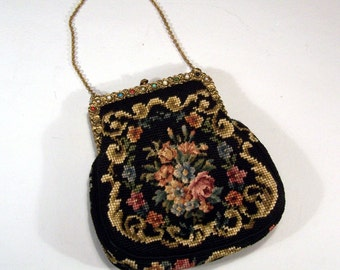 Needlepoint and Petit Point Evening Bag with Jeweled Rose Frame - Unique 1930's