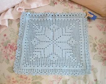 Vintage Blue Handmade crochet Snowflake Throw Pillow Pillowcase S94