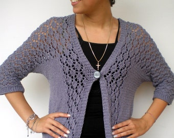 Lolly  Lace Long Cardigan Trendy Stone Grey Hand Knit Woman Sweater Tunic  Cardigan NEW
