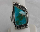 Sterling Silver Native American Ring Size 7.5 Turquoise Pyrite Matrix Vintage Southwestern Jewelry