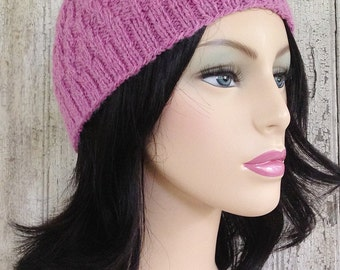 Soft Pink Alpaca Textured Cloche Knit Hat