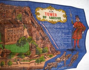 Vintage Linen Towel  Souvenir Dish Towel Tower of London