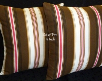 Decorative Pillows, Throw Pillows, Accent Pillows, Pillow Covers - Two 18 Inch Pillow Covers - Neopolitan