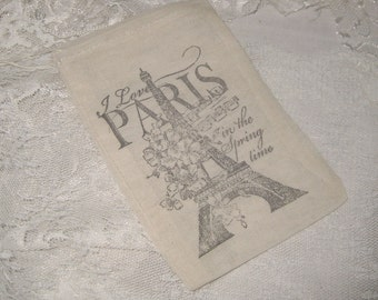 Muslin Favor Pouches Vintage Inspired Paris Eiffel Tower French Script Muslin Gift Pouches