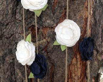 Handmade Navy and Cream Fabric Flower Garland on Brown Twine - Shabby Chic - Party Garland - Wedding Garland
