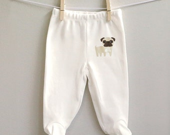Baby pants, pug baby pants, pug footed baby pants