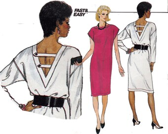 Easy Dress Sewing Pattern 80s Oversize Low Back Shift Vintage Size 8 10 12 Bust 31.5-34 (80-87 cm) Butterick 6351 - S