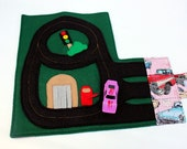 Race Car Track kids Wallet (holds 3 cars), Quiet Fold & Go Travel Toy, Pink Vintage Vehicle Fabric
