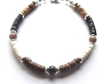 Multicolored Coconut Shell Bracelet, Boho Mens Bracelet, Earthy Jasper Jewelry, Bohemian Men's Bead Bracelet, Mens Beaded Bracelet 8.5 inch