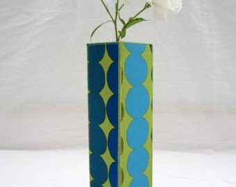 Marimekko Rasymatto Green and Blue Dots Tall Fabric Vase