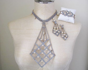60s Rhinestone Art Deco Necklace Bracelet Earrings Blue Pearl NWT 1960