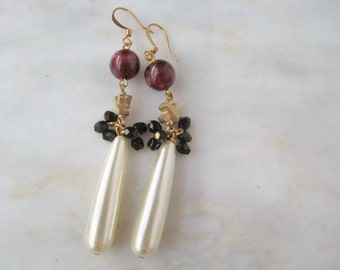 Pearl Red Black French Drop Duster Vintage Costume Jewelry Reconstructed OOAK
