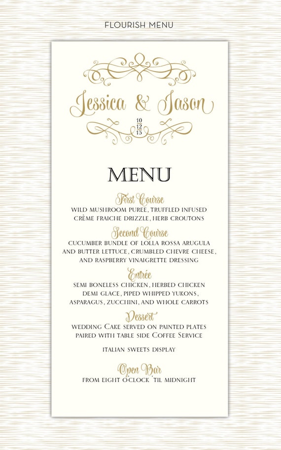 Flourish wedding menu elegant design black and gold
