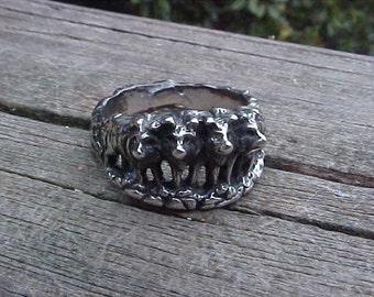 WOLF Ring GUARDlAN PACK in Sterling Silver 925 custom design