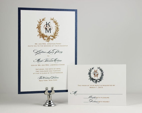 Printable Wedding Invitations Monogram Wedding Invitations Gold Wedding Invit