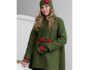 Green boiled wool  sweater with belt, cap, and mittens with Matyo hungarian folk motifs