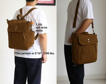 SALE - Convertible Backpack / Rucksack in Brown / Diaper bag / Travel Tote / Canvas bag / School bag / Unisex - iHana