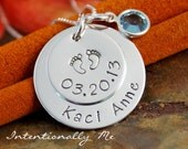 Hand Stamped Mommy Necklace - Personalized Jewelry - Sterling Silver Necklace - My Baby Info (name and birthdate)
