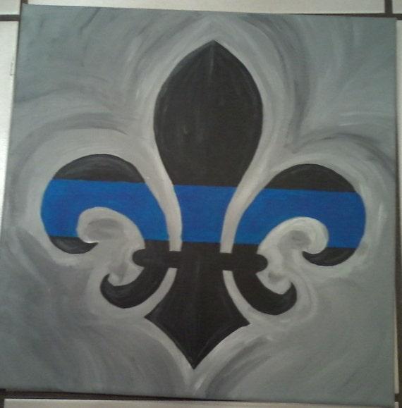 Blue Line Art Painting : Thin blue line fleur de lis canvas art by grisgrisart