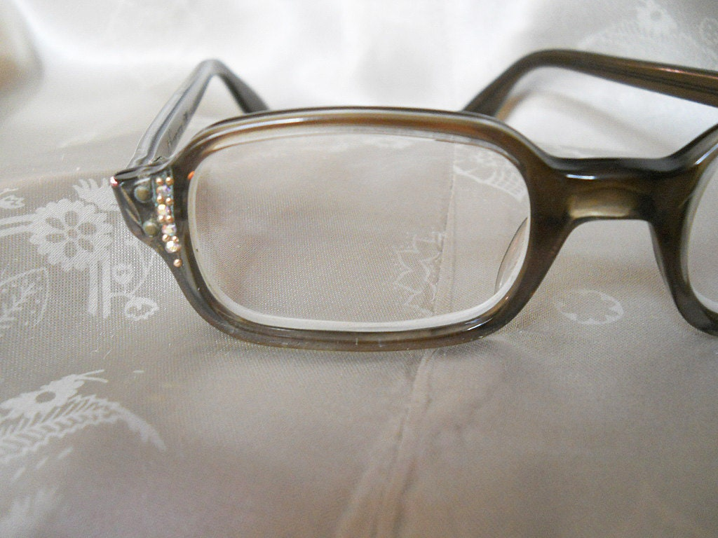 vintage rhinestone eyeglass frames 1960s by