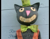 Fall Primitive Folk Art Halloween Cat, Prim Cat, Halloween Cat, Primitive Halloween, Prim Folk Art Cat