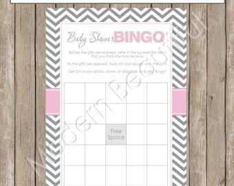 Baby Shower Bingo - Pink and Gray Baby Shower Bingo - INSTANT DOWNLOAD