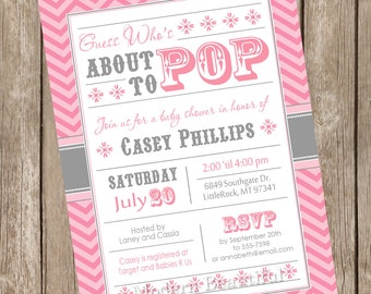 Look who's about to pop Baby Shower Invitation, chevron, girl baby shower invitation, pink and gray, typography, printable invitation