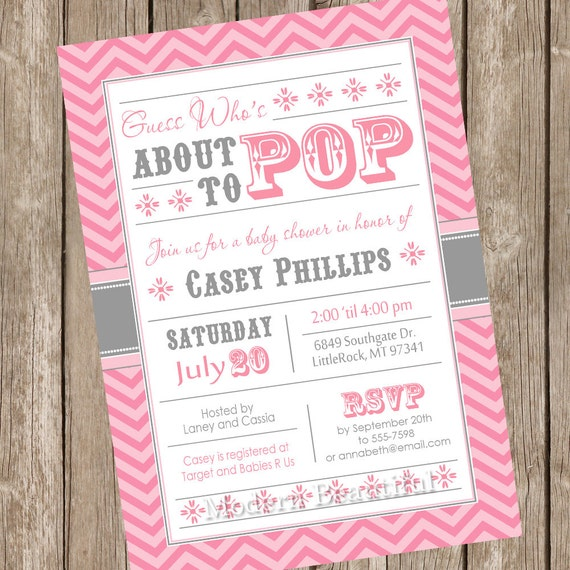 who 39 s about to pop baby shower invitation chevron girl baby shower