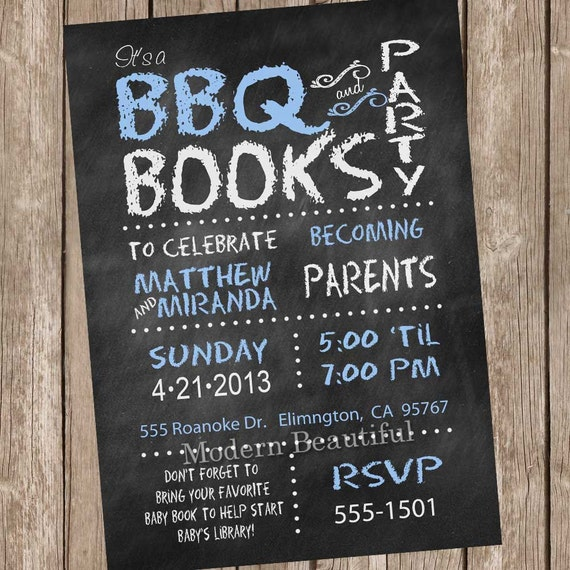 Couples Bbq Baby Shower: Chalkboard Couples BBQ Book Baby Shower Invitation