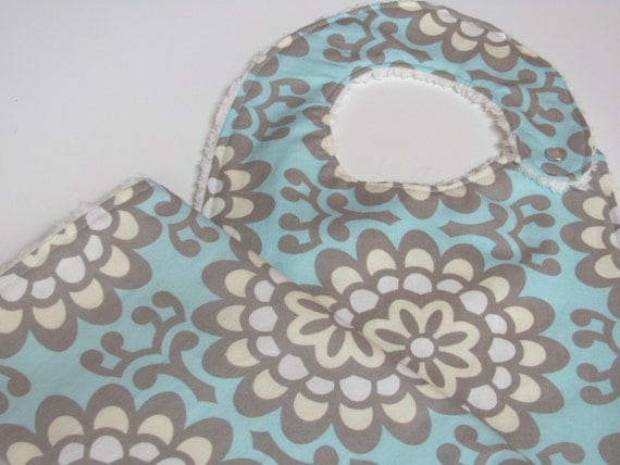 Bib and Burp Cloth in Amy Butler Wallflower and Cream Chenille, Gender Neutral, Blue, Grey